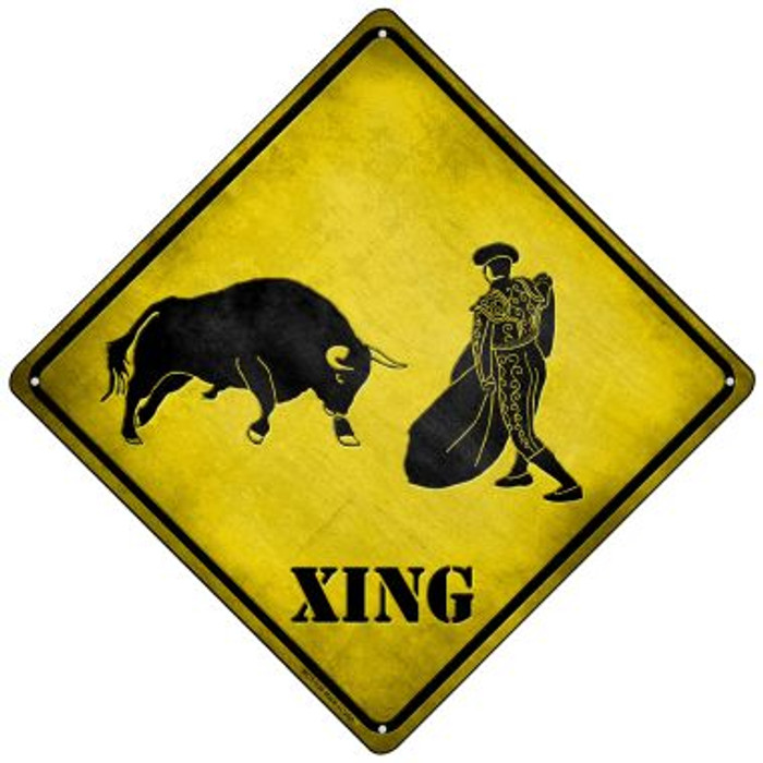 Bullfight Xing Novelty Mini Metal Crossing Sign MCX-136