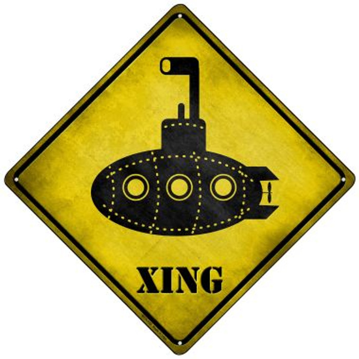 Cartoon Submarine Xing Novelty Mini Metal Crossing Sign MCX-152