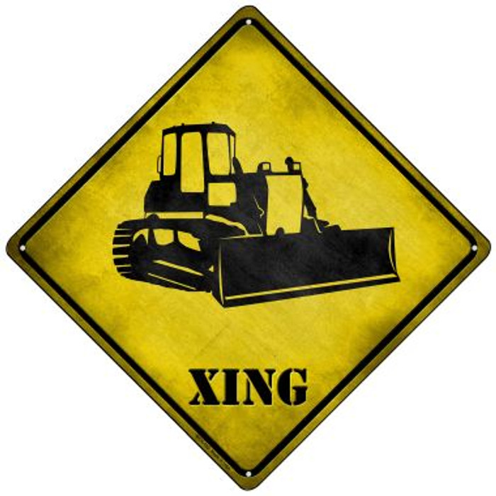 Bulldozer Xing Novelty Mini Metal Crossing Sign MCX-162
