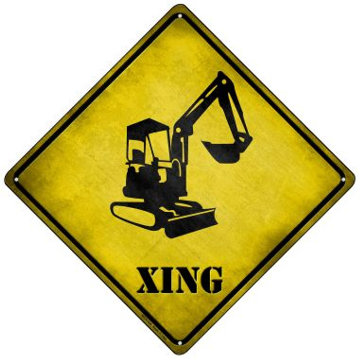 Backhoe Xing Novelty Mini Metal Crossing Sign MCX-164