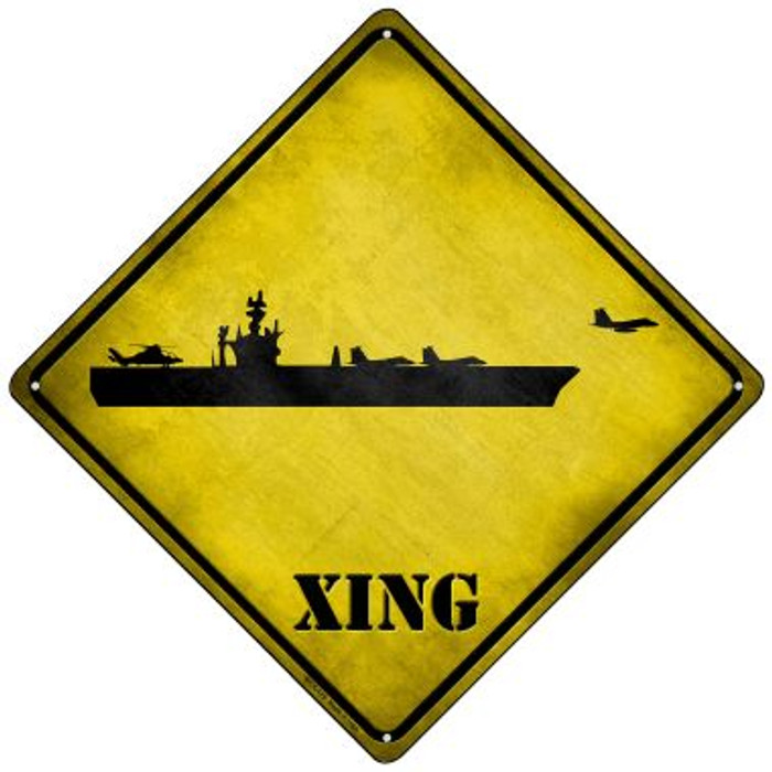 Aircraft Carrier Xing Novelty Mini Metal Crossing Sign MCX-175