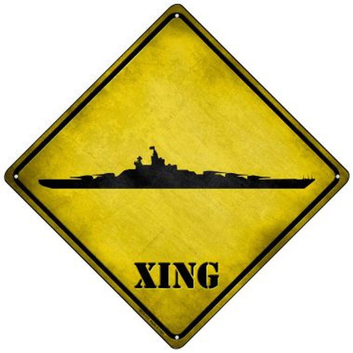 Battleship Xing Novelty Mini Metal Crossing Sign MCX-177
