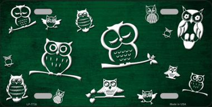 Green White Owl Print Oil Rubbed Metal Novelty License Plate