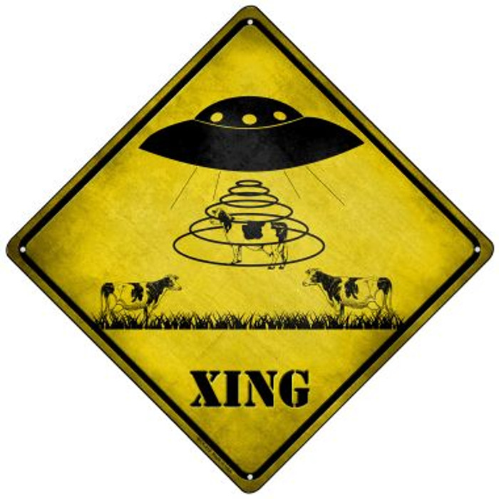 Alien Abduction Xing Novelty Mini Metal Crossing Sign MCX-319