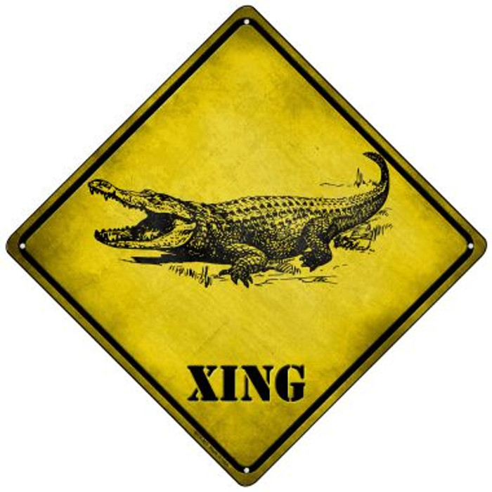 Alligator Xing Novelty Mini Metal Crossing Sign MCX-321