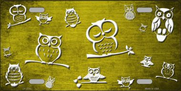 Yellow White Owl Print Oil Rubbed Metal Novelty License Plate