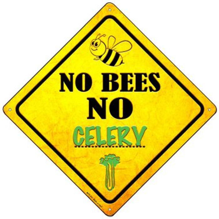 No Bees No Celery Novelty Mini Metal Crossing Sign MCX-343
