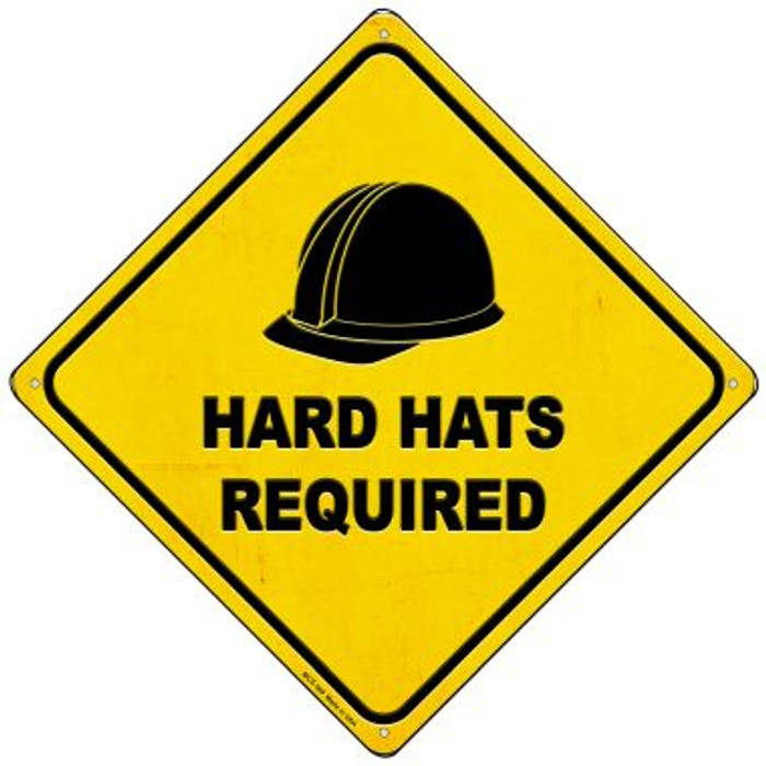 Hard Hats Required Novelty Mini Metal Crossing Sign MCX-369