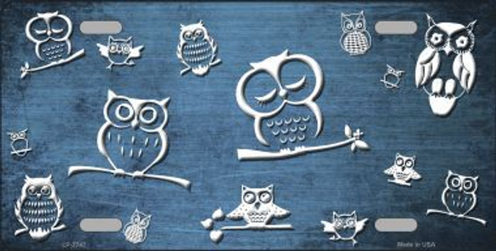 Light Blue White Owl Print Oil Rubbed Metal Novelty License Plate