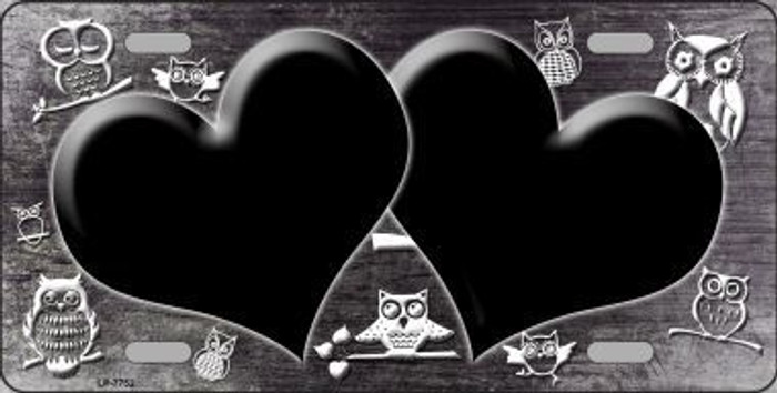 Black White Owl Hearts Oil Rubbed Metal Novelty License Plate
