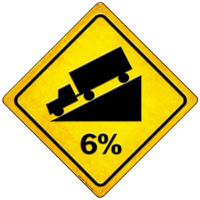 6% Grade Novelty Mini Metal Crossing Sign MCX-440