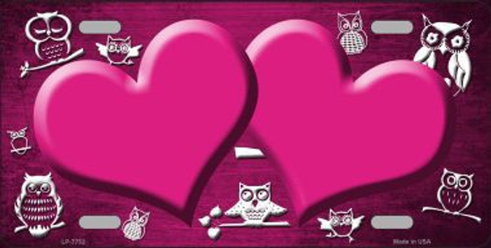 Pink White Owl Hearts Oil Rubbed Metal Novelty License Plate
