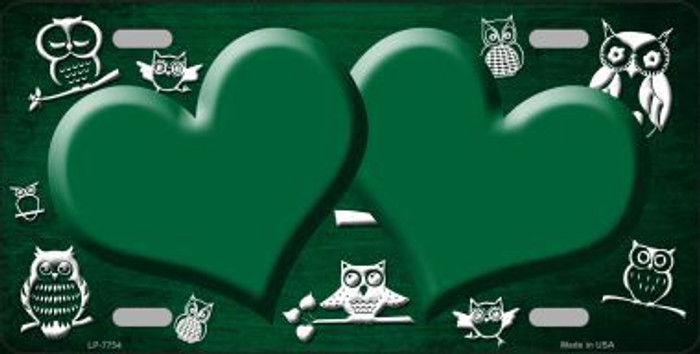 Green White Owl Hearts Oil Rubbed Metal Novelty License Plate