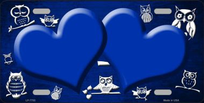 Blue White Owl Hearts Oil Rubbed Metal Novelty License Plate
