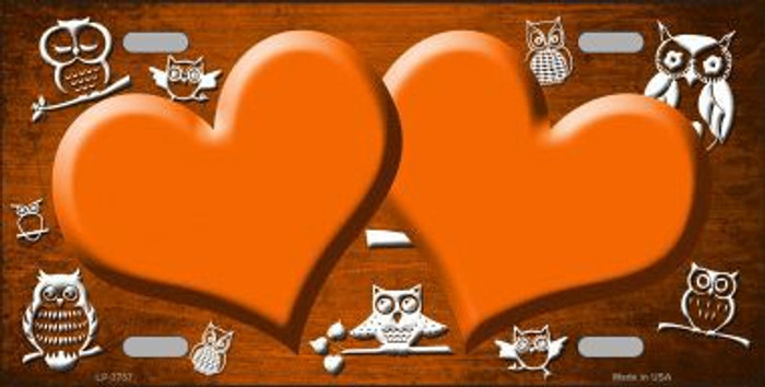 Orange White Owl Hearts Oil Rubbed Metal Novelty License Plate