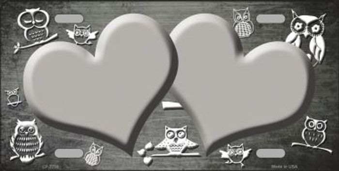 Gray White Owl Hearts Oil Rubbed Metal Novelty License Plate