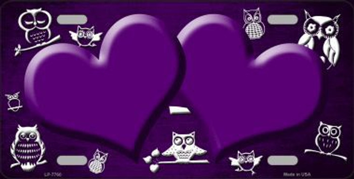 Purple White Owl Hearts Oil Rubbed Metal Novelty License Plate