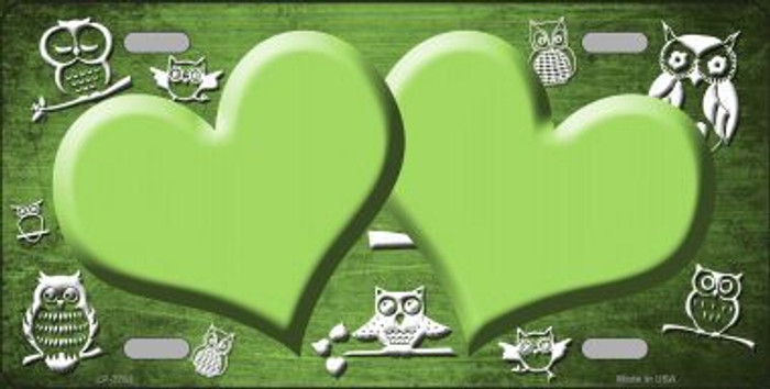 Lime Green White Owl Hearts Oil Rubbed Metal Novelty License Plate
