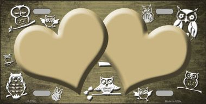 Gold White Owl Hearts Oil Rubbed Metal Novelty License Plate