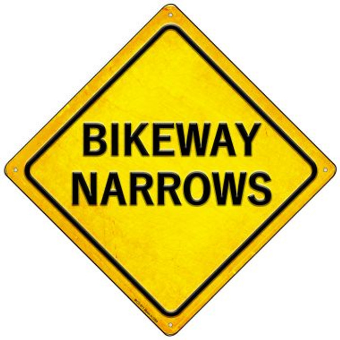 Bikeway Narrows Novelty Mini Metal Crossing Sign MCX-571