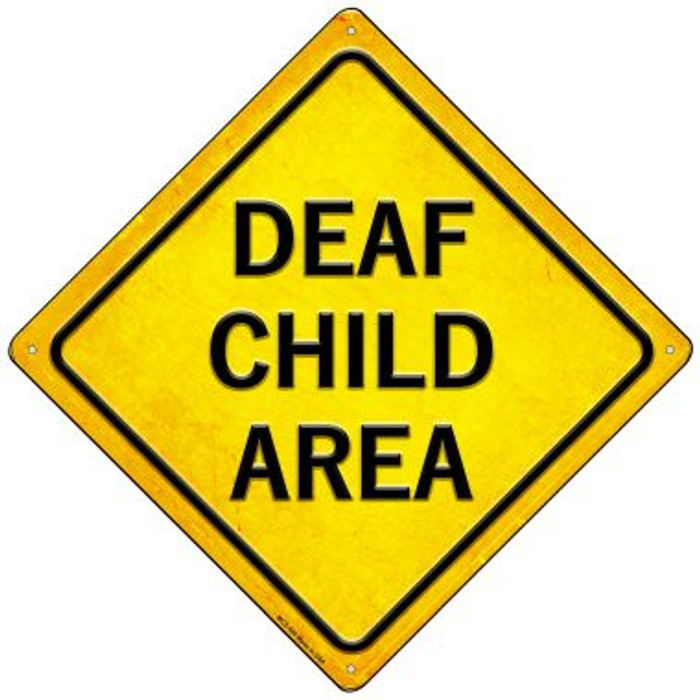 Deaf Child Area Novelty Mini Metal Crossing Sign MCX-580