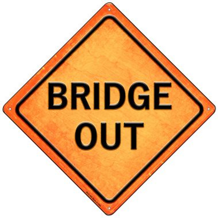 Bridge Out Novelty Mini Metal Crossing Sign MCX-585