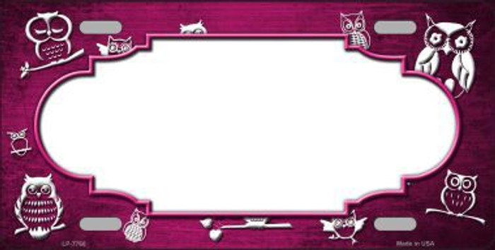 Pink White Owl Scallop Oil Rubbed Metal Novelty License Plate