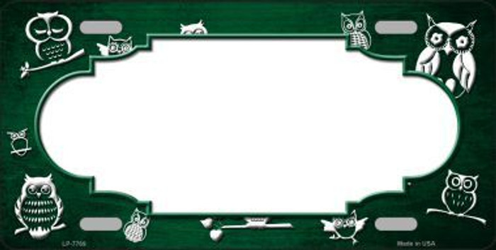 Green White Owl Scallop Oil Rubbed Metal Novelty License Plate