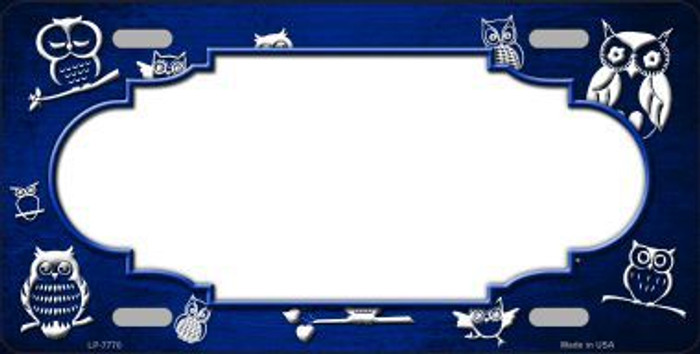 Blue White Owl Scallop Oil Rubbed Metal Novelty License Plate