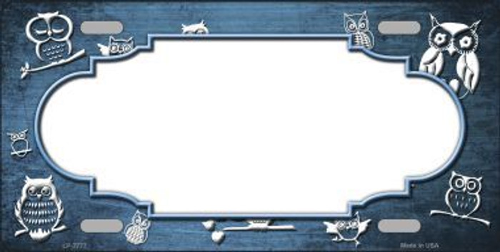 Light Blue White Owl Scallop Oil Rubbed Metal Novelty License Plate