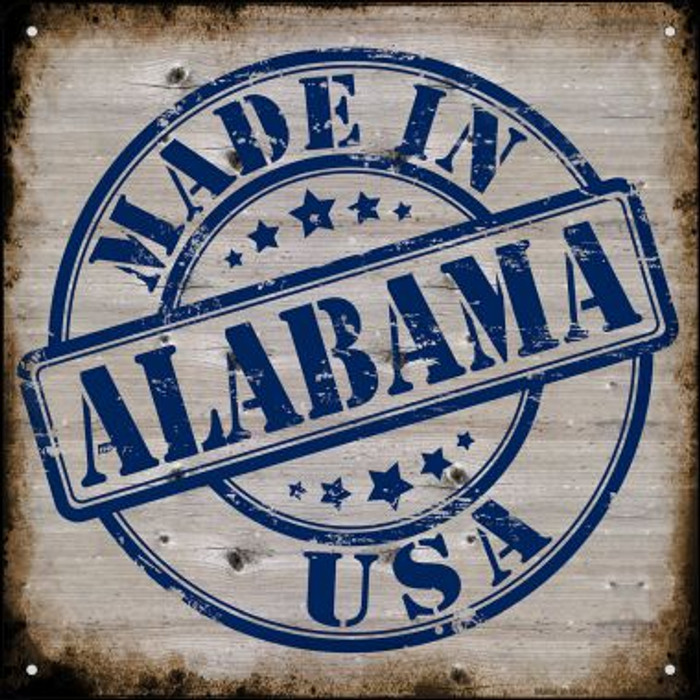 Alabama Stamp On Wood Novelty Mini Metal Square MSQ-106