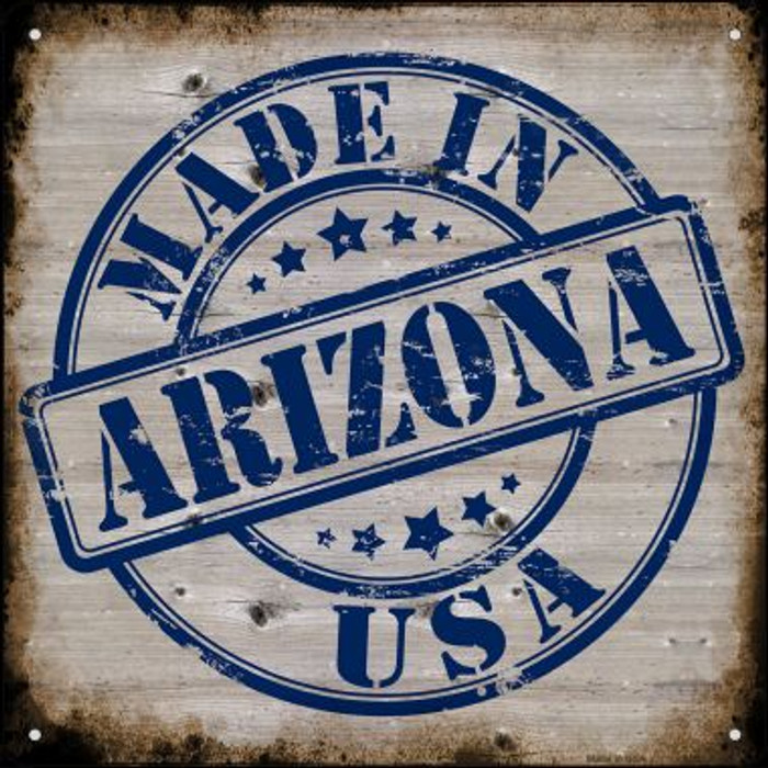 Arizona Stamp On Wood Novelty Mini Metal Square MSQ-108