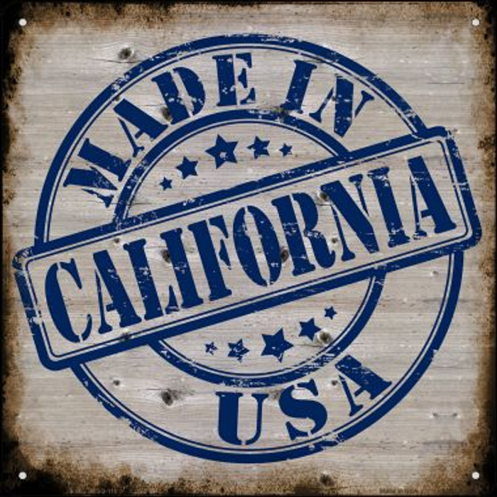 California Stamp On Wood Novelty Mini Metal Square MSQ-110
