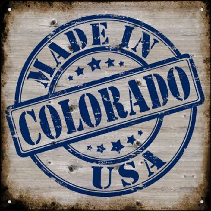 Colorado Stamp On Wood Novelty Mini Metal Square MSQ-111