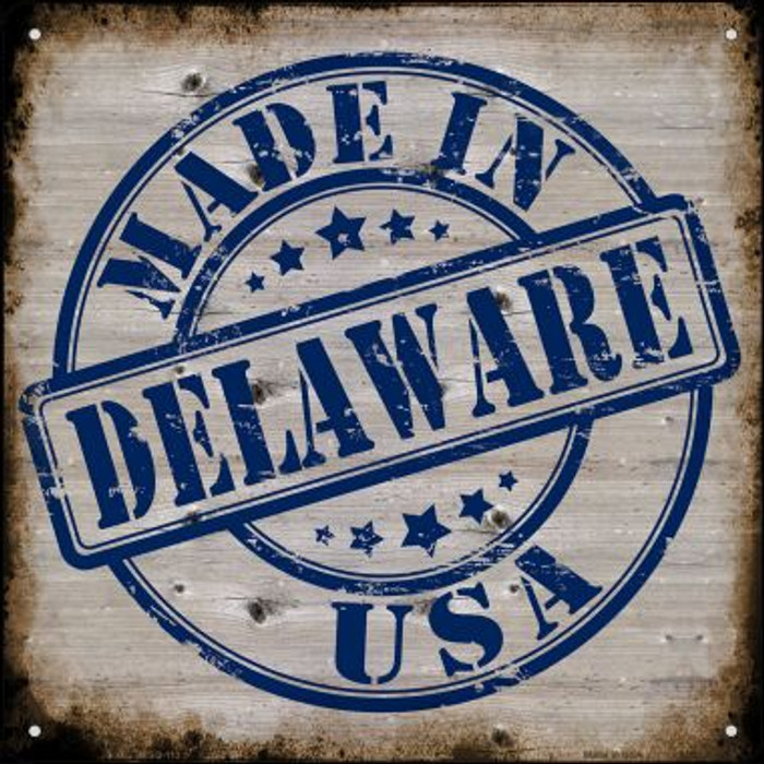 Delaware Stamp On Wood Novelty Mini Metal Square MSQ-113