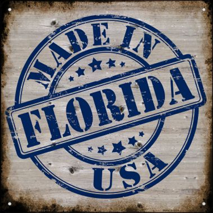 Florida Stamp On Wood Novelty Mini Metal Square MSQ-114