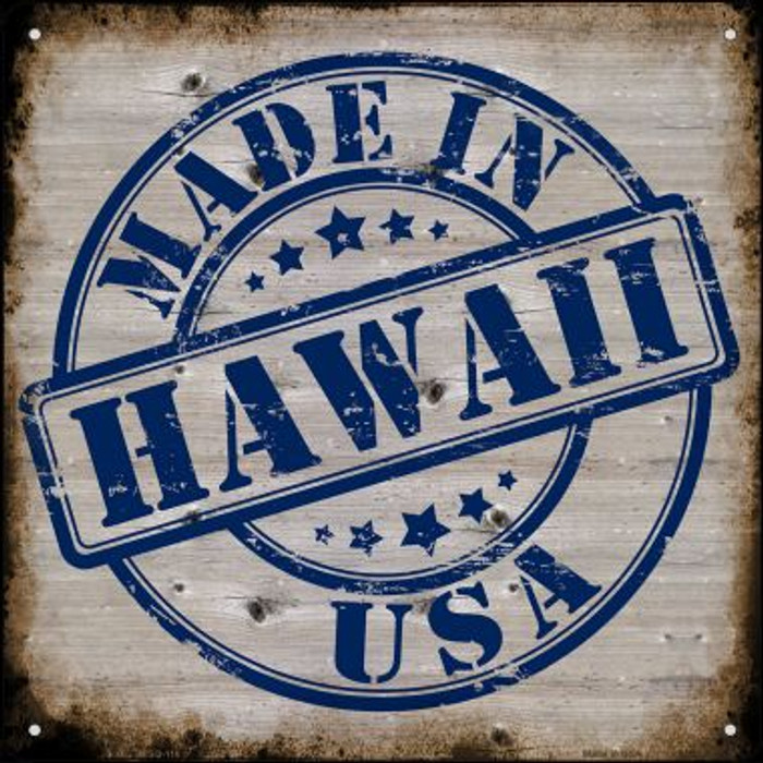 Hawaii Stamp On Wood Novelty Mini Metal Square MSQ-116