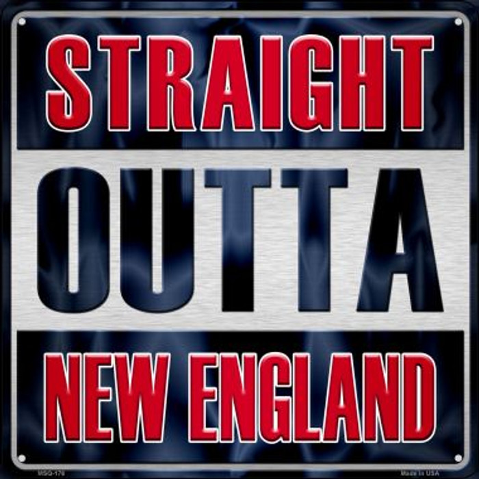 Straight Outta New England Novelty Mini Metal Square MSQ-176