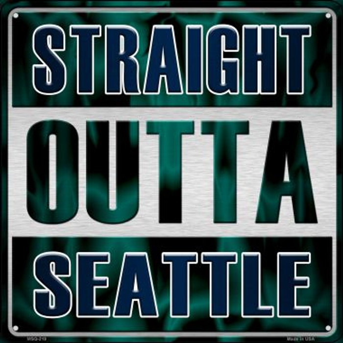 Straight Outta Seattle Novelty Mini Metal Square MSQ-219