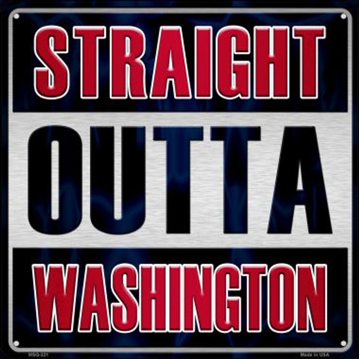 Straight Outta Washington Novelty Mini Metal Square MSQ-221