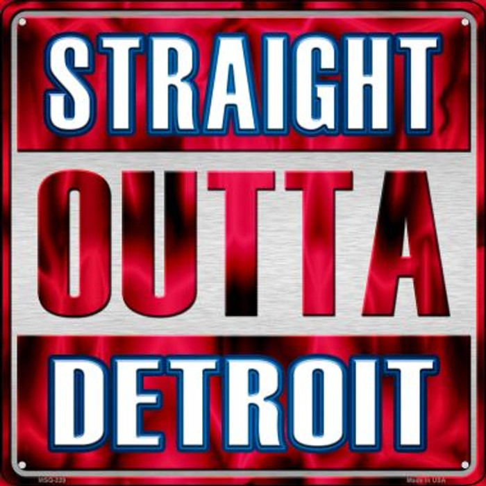 Straight Outta Detroit Novelty Mini Metal Square MSQ-229