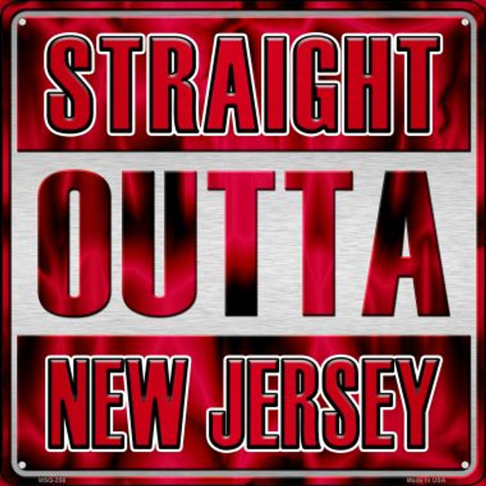Straight Outta New Jersey Novelty Mini Metal Square MSQ-256