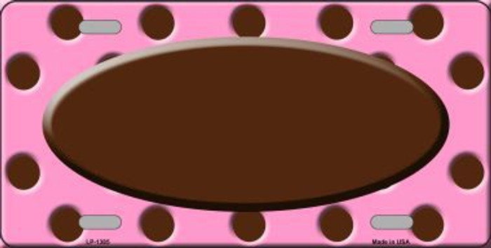 Brown Pink Polka Dot Print With Brown Center Oval Metal Novelty License Plate