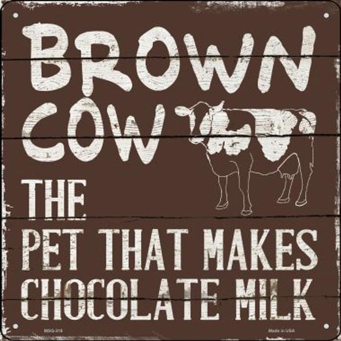 Brown Cow Brown Milk Novelty Mini Metal Square MSQ-319
