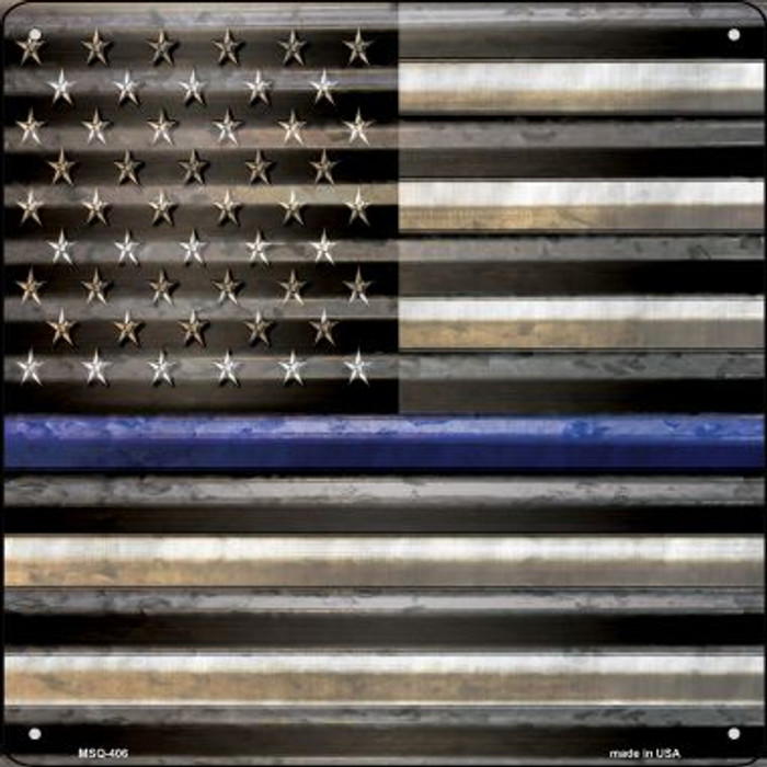 American Flag Thin Blue Line Novelty Mini Metal Square MSQ-406