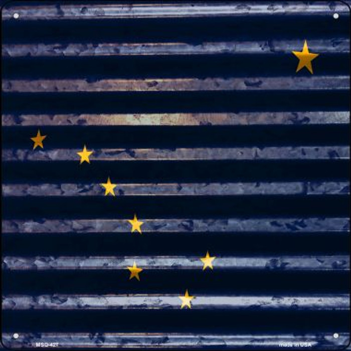 Alaska Flag Corrugated Effect Novelty Mini Metal Square MSQ-427