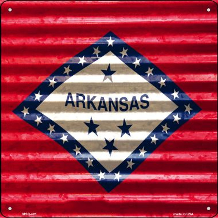 Arkansas Flag Corrugated Effect Novelty Mini Metal Square MSQ-428