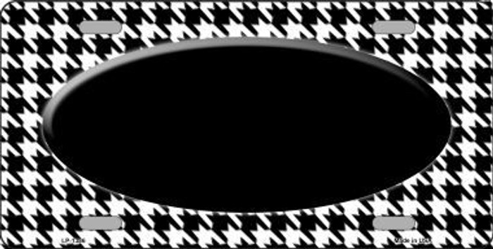 White Black Houndstooth With Black Center Oval Metal Novelty License Plate
