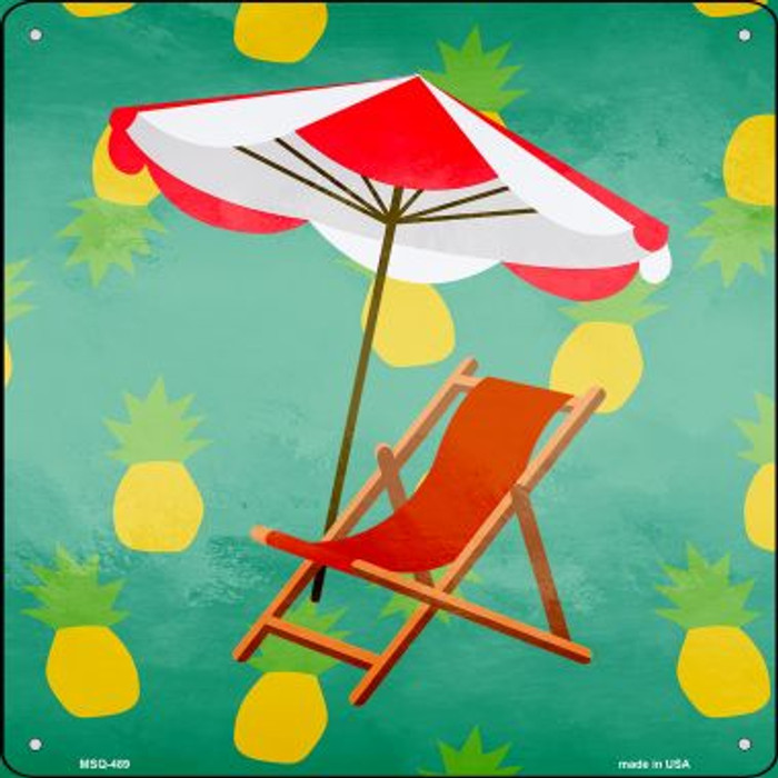 Chair and Umbrella Novelty Mini Metal Square MSQ-489