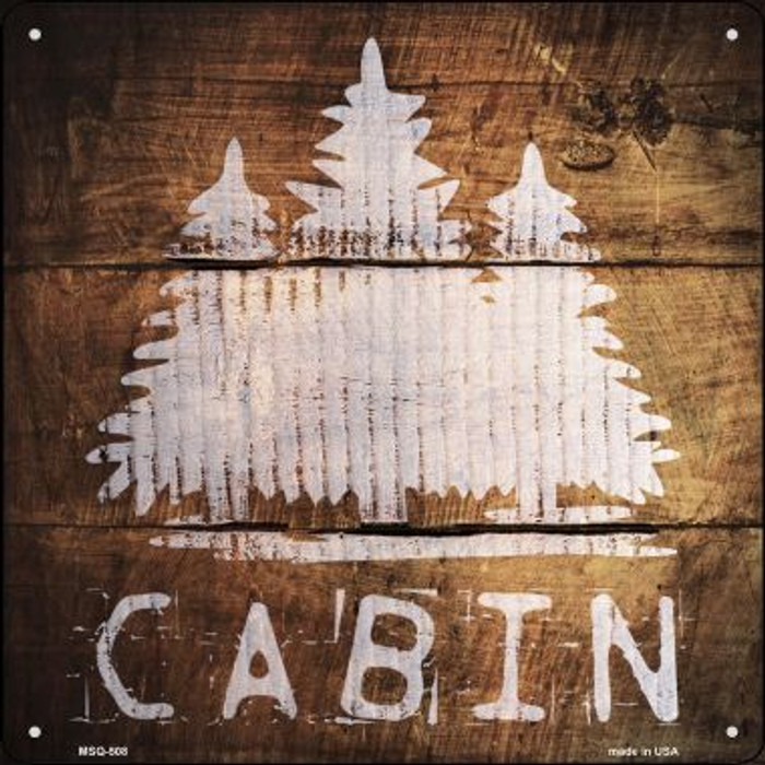 Cabin Painted Stencil Novelty Mini Metal Square MSQ-508